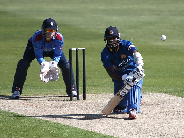 Angelo Mathews of Sri Lanka made 51 against Kent