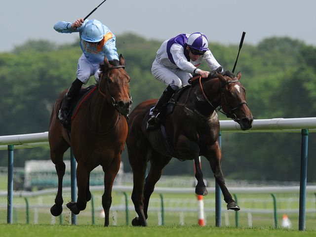 Penitent ridden by Daniel Tudhope (left) beats Breton Rock ridden by Martin Lane to win the Timeform Jury Stakes