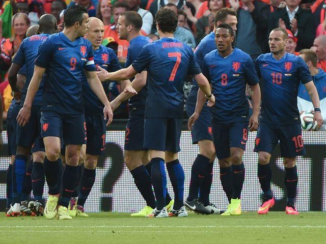 Holland celebrate Robin van Persie's winner