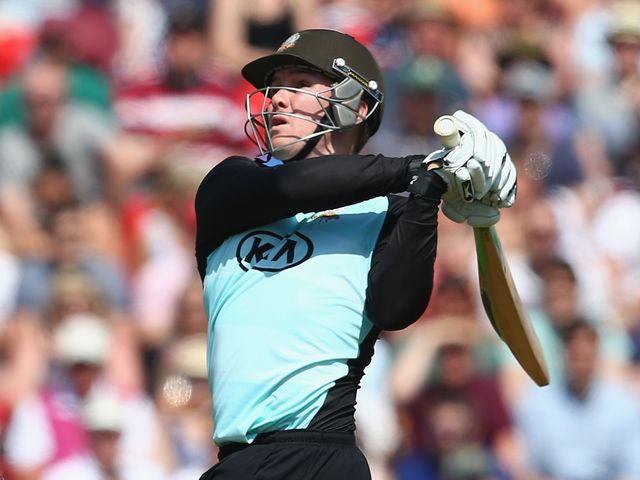 Jason Roy hits out during his 64 for Surrey against Somerset