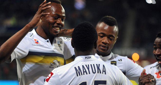 Sochaux celebrate Emmanuel Mayuka's goal
