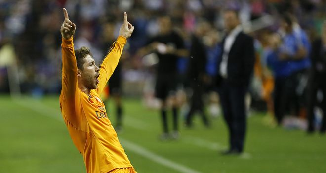 Sergio Ramos: Celebrates his goal as Madrid are held