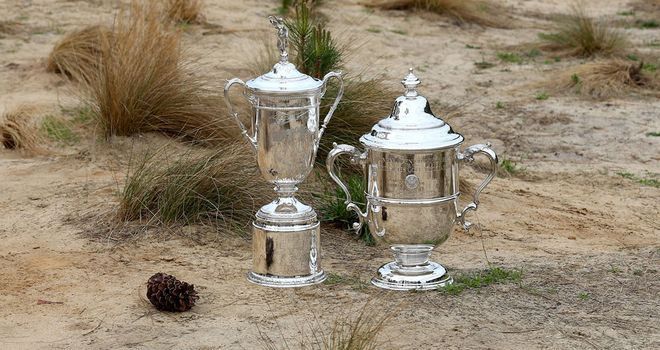 The US Open trophies settling in at Pinehurst...