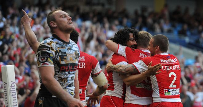 Hull KR's Ade Gardner celebrates after scoring a try in the win over Hull FC