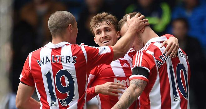 Marko Arnautovic: Celebrates with his Stoke team-mates after the opening goal