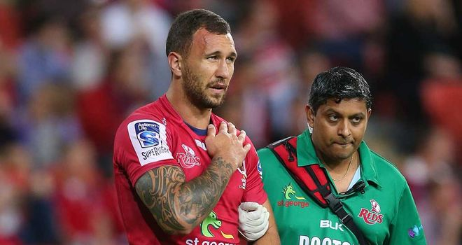 Quade Cooper: Suffered dislocated shoulder in Brisbane