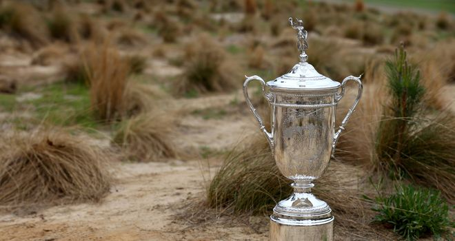 The US Open trophy on a preview day at Pinehurst No.2