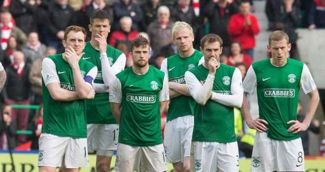 Dejected Hibernian players during the penalty shoot-out against Hamilton