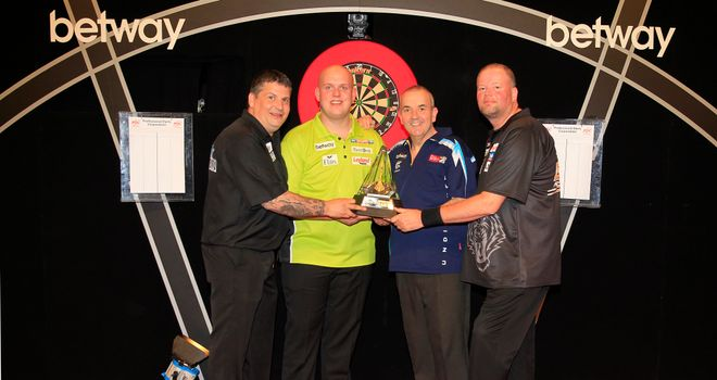 Semi-finalists for the Premier League Darts play-offs at The O2 (pic Lawrence Lustig)
