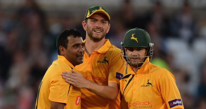 Samit Patel (left): Took two wickets and also hit a half-century for the Outlaws