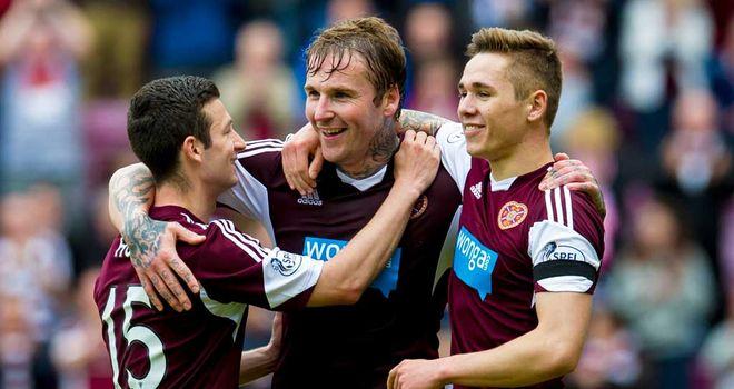 Ryan Stevenson: Celebrates his second goal in Hearts romp against Kilmarnock