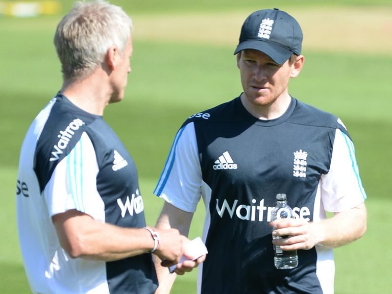 Eoin Morgan chats with new England coach Peter Moores