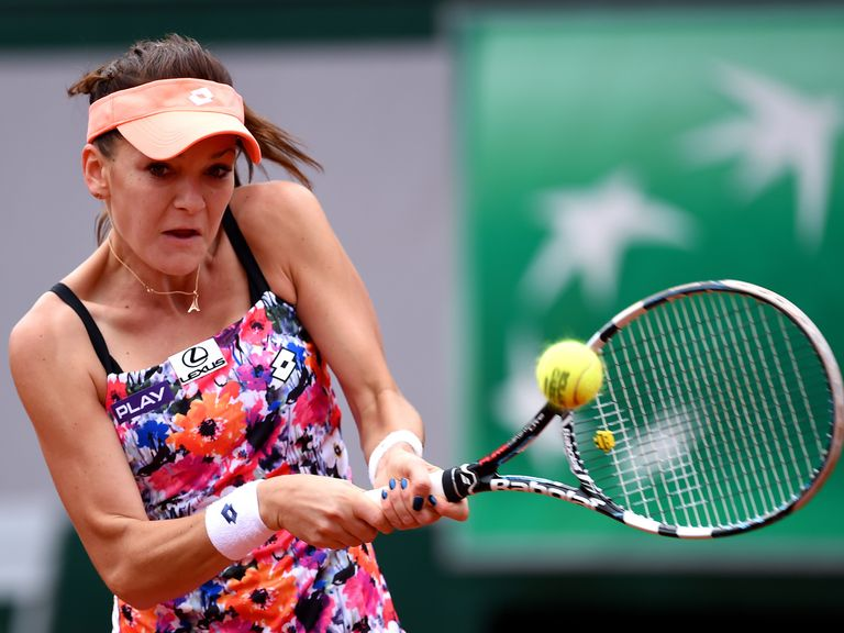 Third seed Agnieszka Radwanska of Poland in action during her 6-3 6-0 win over China's Shuai Zhang