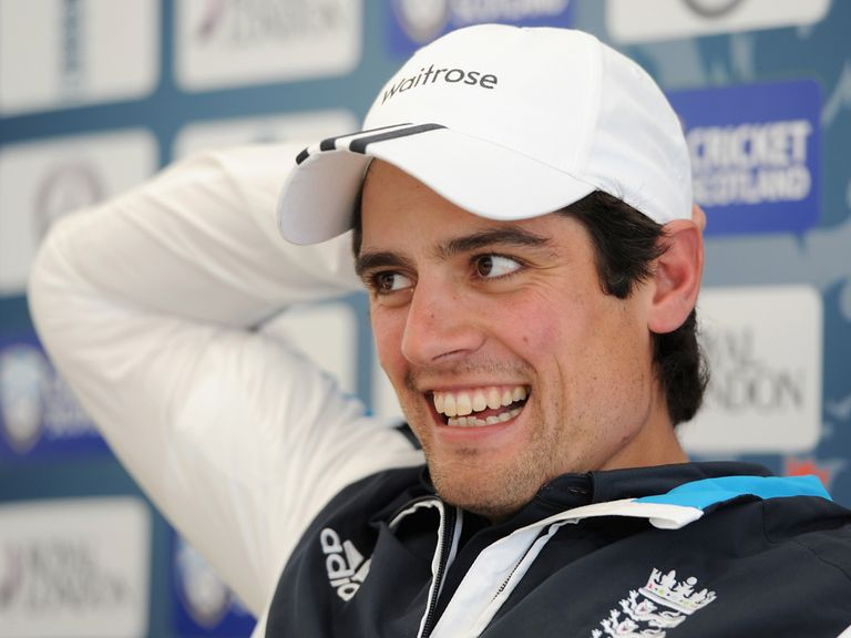 England captain Alastair Cook speaks to the media during a press conference at Mannofield Park
