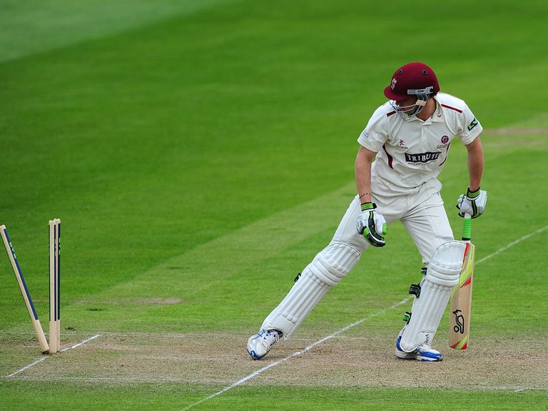 Chris Jones of Somerset looks back after being bowled by Peter Siddle of Nottinghamshire