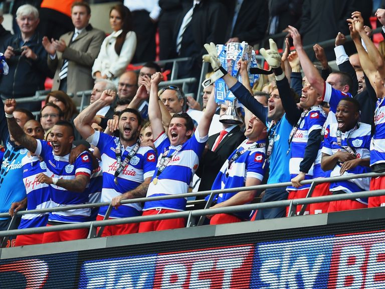 Queens Park Rangers celebrate victory over Derby