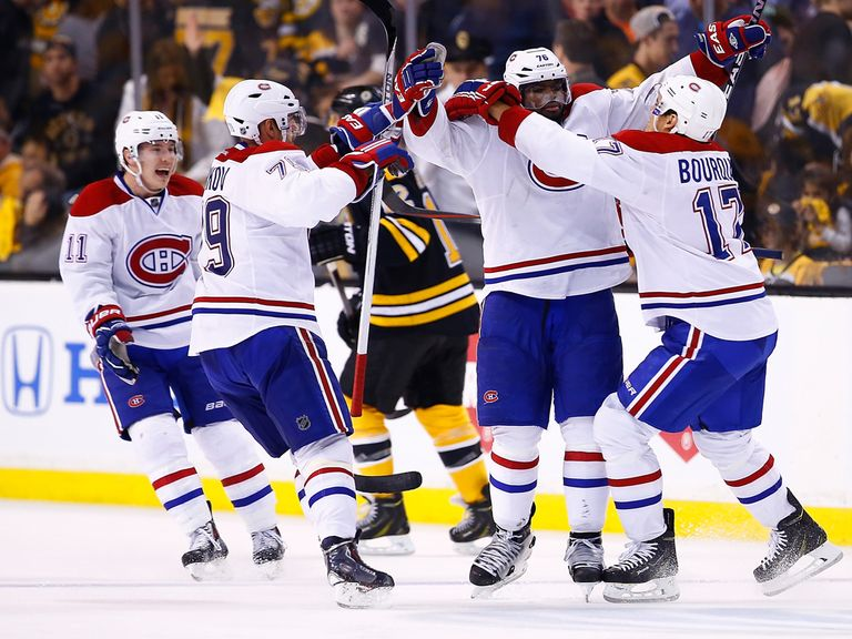 P.K. Subban of the Montreal Canadiens celebrates his goal