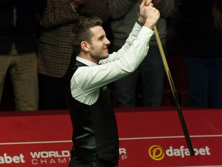 Mark Selby celebrates his semi-final victory over Neil Robertson