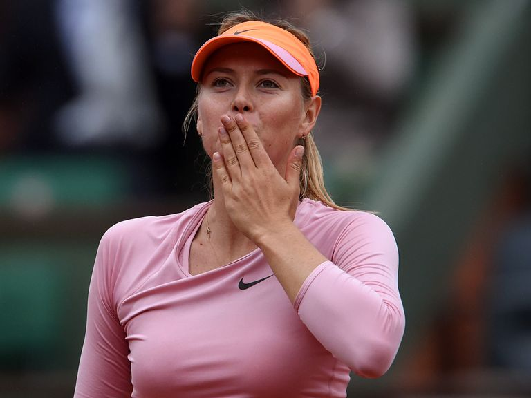 Maria Sharapova of Russia celebrates victory on Wednesday