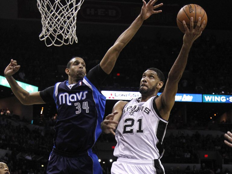 Tim Duncan of the Spurs shoots over Brandan Wright