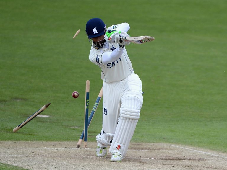 Warwickshire's Varun Chopra is bowled by Jack Brooks of Yorkshire