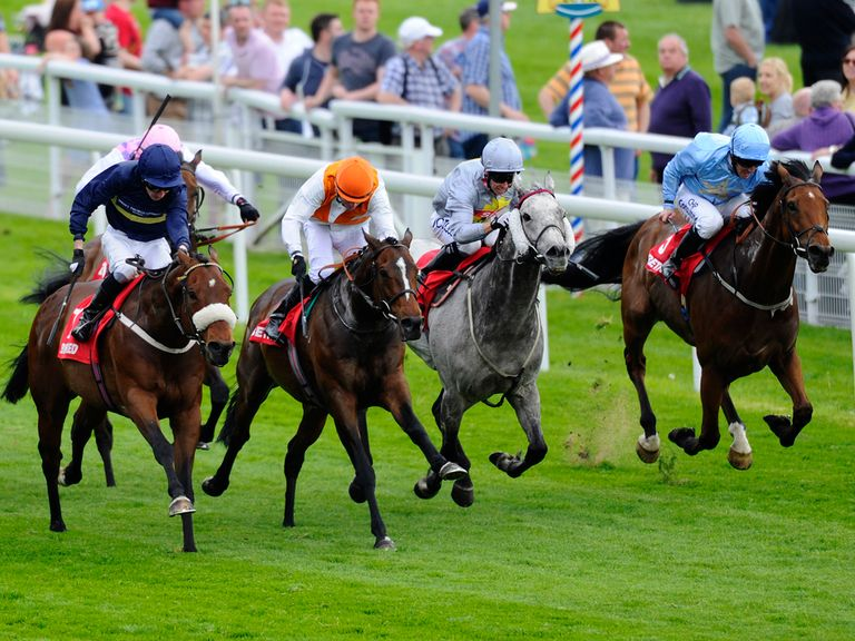 Navajo Chief (orange cap) came through late under Kieren Fallon to grab the spoils