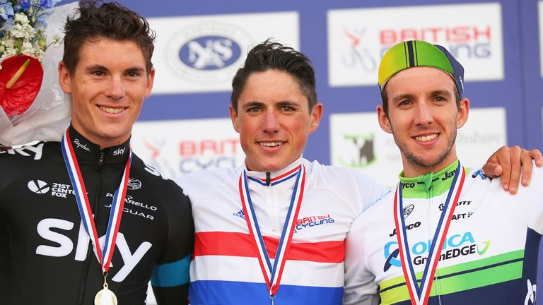 Simon Yates, right, finished third in the British national road race on Sunday