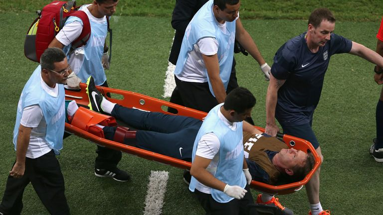 Gary Lewin: Stretchered away after breaking his ankle in Manaus