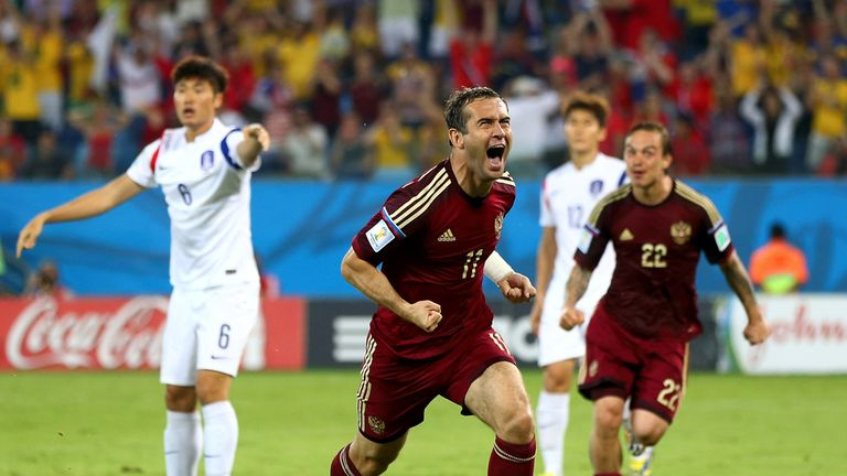 Aleksandr Kerzhakov celebrates his leveller
