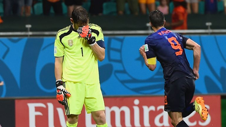 Robin van Persie seized on an Iker Casillas error to score Holland's fourth goal
