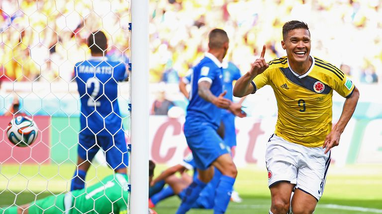 Teofilo Gutierrez: Celebrating his goal against Greece on his World Cup debut
