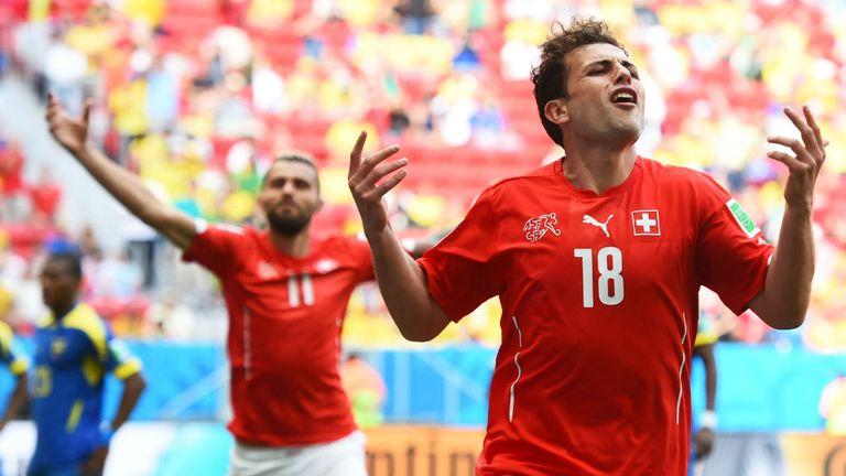 Admir Mehmedi: Celebrates equaliser for Switzerland against Ecuador
