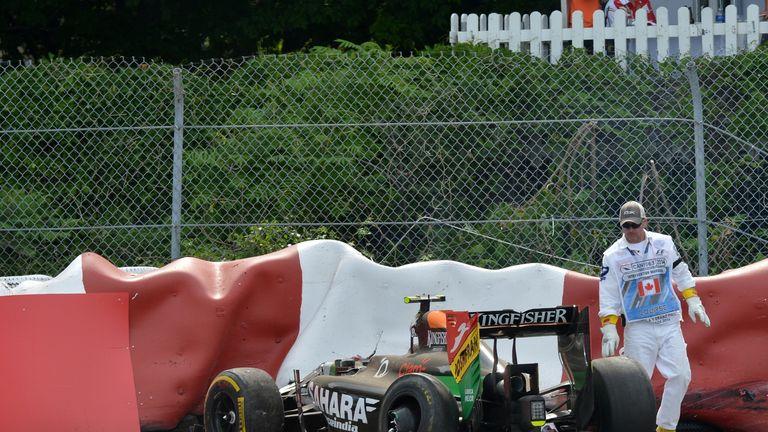 The crashed car of Sergio Perez