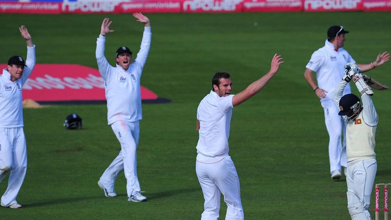 Chris Tremlett successfully appeals for the wicket of Jayawardene at Cardiff in 2011