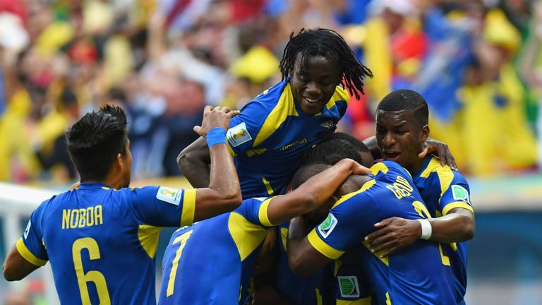 Ecuador celebrate going ahead
