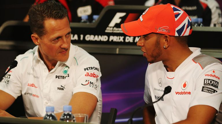 Michael Schumacher and Lewis Hamilton at Monaco in 2012
