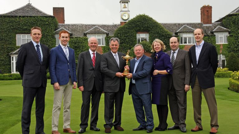 Woosnam and Bernard Gallacher with the Ryder Cup at new revamped Belfry