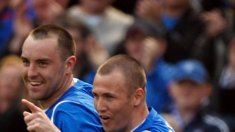 Kris Boyd (l) and Kenny Miller: Rangers' strikeforce in the Championship next season