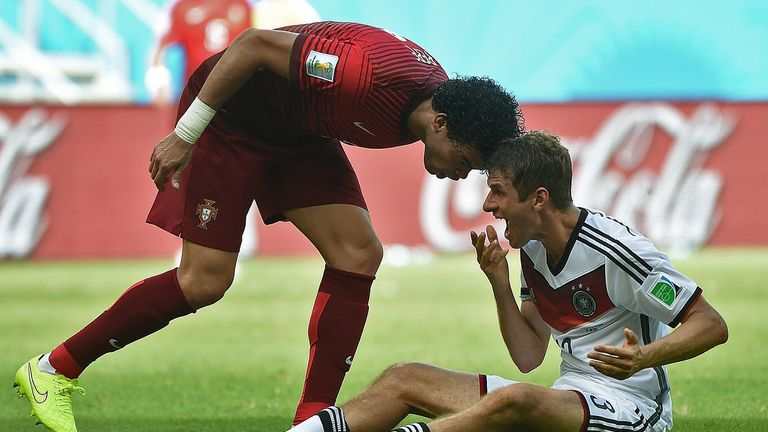 Pepe (L): Sent off for clash with Thomas Muller