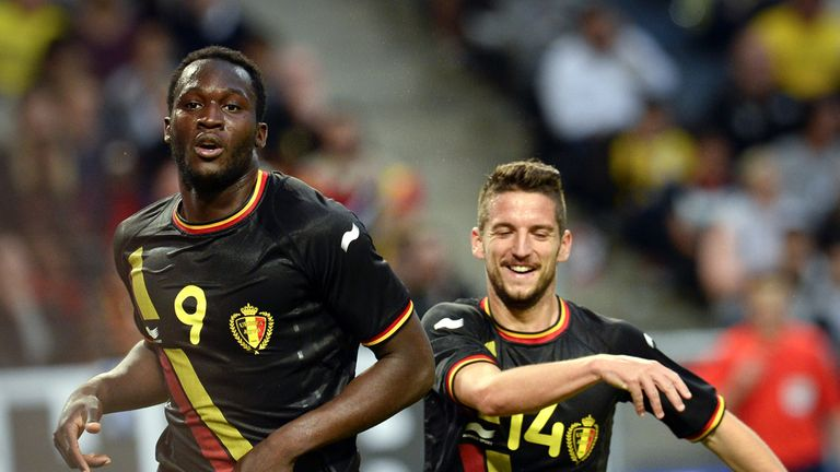 Romelu Lukaku: Celebrates after scoring for Belgium