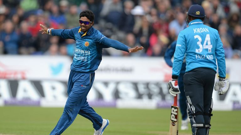 Sachithra Senanayake: Celebrates dismissing England's Chris Jordan during the second ODI