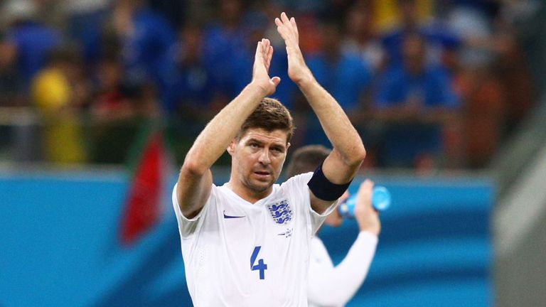 Steven Gerrard salutes the England fans after the 2-1 loss to Italy