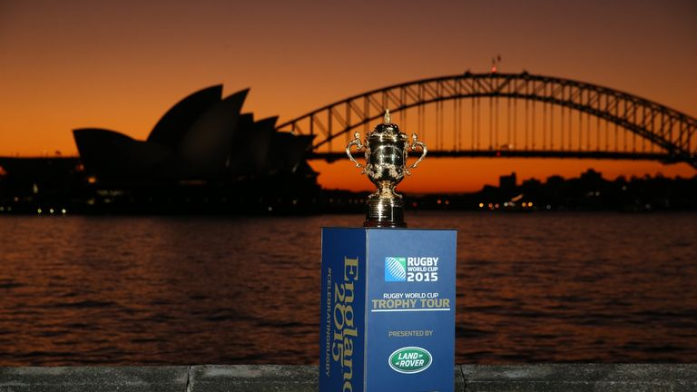 William Webb Ellis trophy: Stopped off in Sydney before heading to England