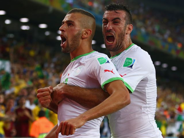Islam Slimani celebrates his goal for Algeria