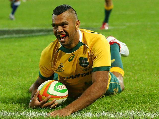 Kurtley Beale enjoys his try