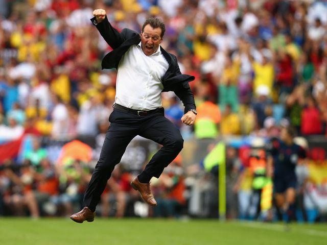 Belgium boss Marc Wilmots celebrates victory