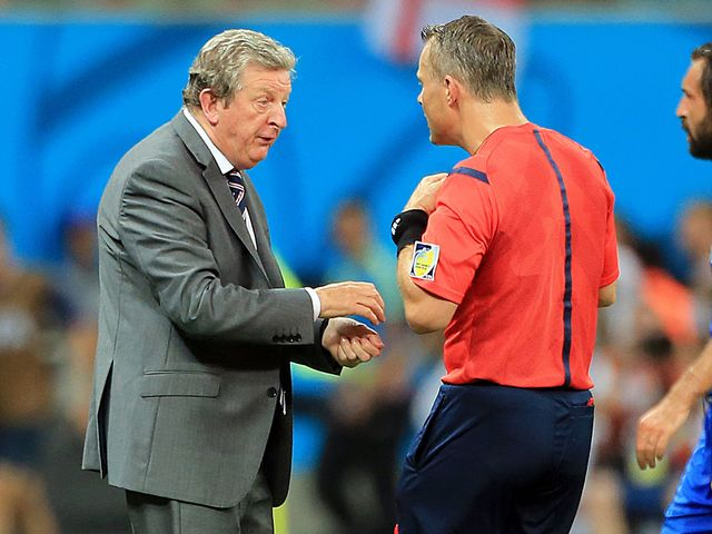 Roy Hodgson shows his frustration to the referee
