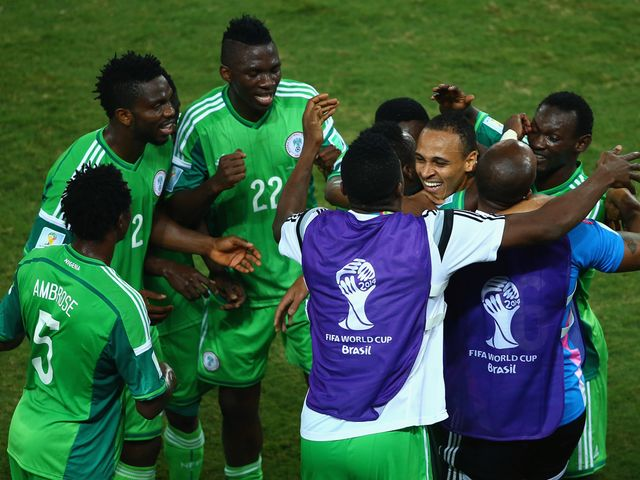Nigeria celebrate victory over Bosnia