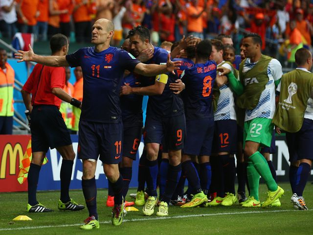 Arjen Robben celebrates his second goal for Holland