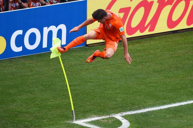 Klaas-Jan Huntelaar celebrates after scoring a penalty deep into added time